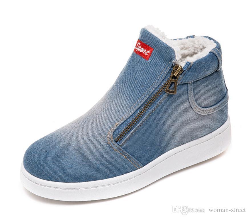 Зимняя обувь женщины джинсовые ботинки снега платформы теплые флис классический высокий топ круглый носок плоские туфли кроссовки женщина загрузки