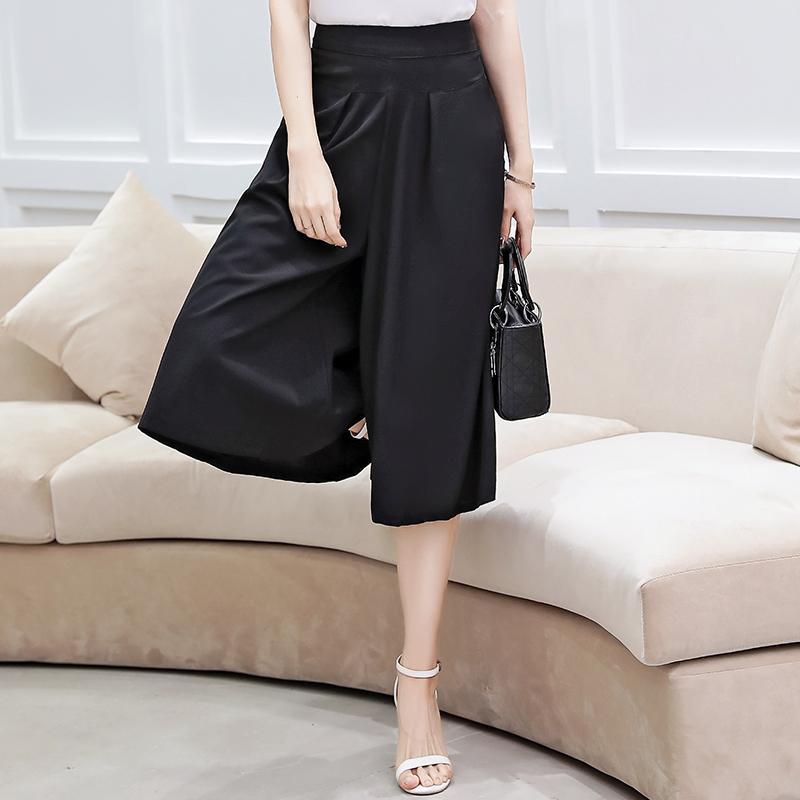 2020 Sommer-Hose mit weitem Bein Frauen-verursachende elegante Hose mit hoher Hüfte lose breite Bein-Hosen plus Größe Frauen wadenlangen Rock