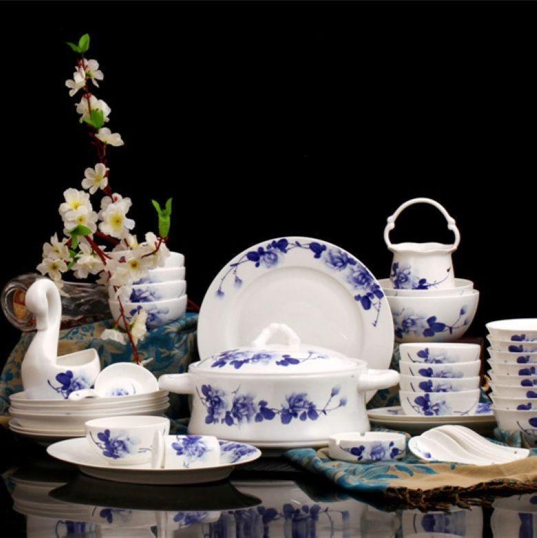 Dipinto A Mano Blu e bianco in Stile Cinese Jingdezhen soggiorno osso porcellana Set Da Tavola 60 pezzi osso porcellana Hotel Res