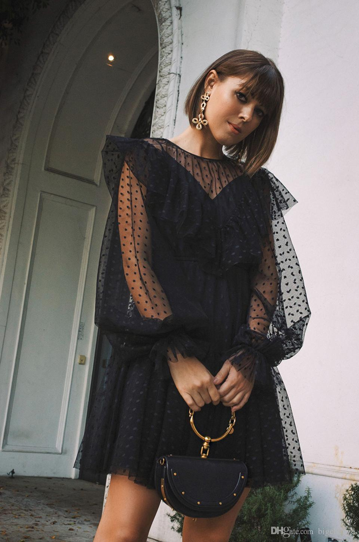 Robe à pois femmes courtes à manches longues robes noires Femme Voir Sexy Bien que Flare Robes Ruffled Robes bain de soleil