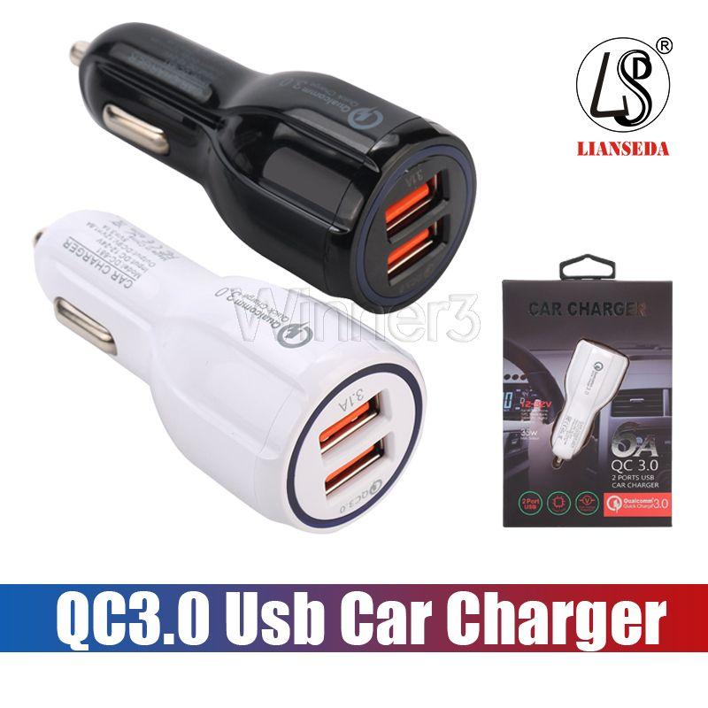 최고 품질 QC3.0 빠른 고속 케이블 + 전화 충전기를 충전 3.1A 퀄컴 급속 충전 자동차 충전기 듀얼 USB 충전