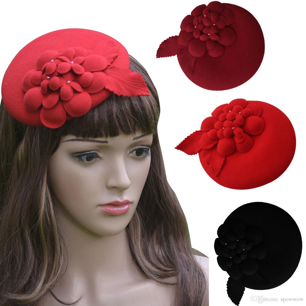 Matrimonio del partito della chiesa del cappello della pillbox della lana di Fascinator del vestito delle donne del fiore della vite di A099