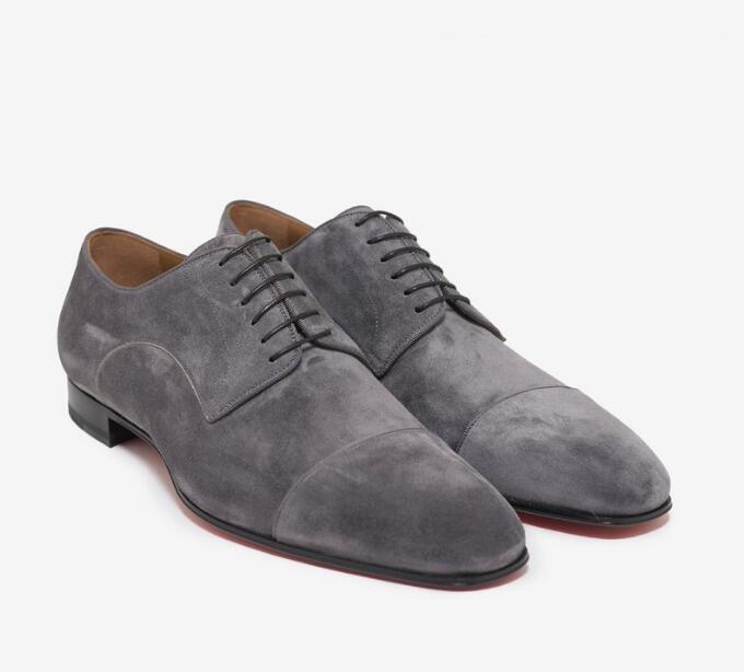 Venda quente-Sapatos de Vestido de Fundo Vermelho Mocassins Saltos Baixos Top Daviol Sapatos De Couro De Camurça Plana Derbys Sapatos De Casamento Negócio Vestido Sapatos Men Oxfords