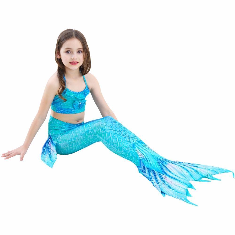 3pcs الفتيات السباحة الملابس Bra + Briefs+حورية البحر Tails الأميرة زي الأطفال حورية البحر ذيول Cosplay Sheath Swim Suith Girl JL