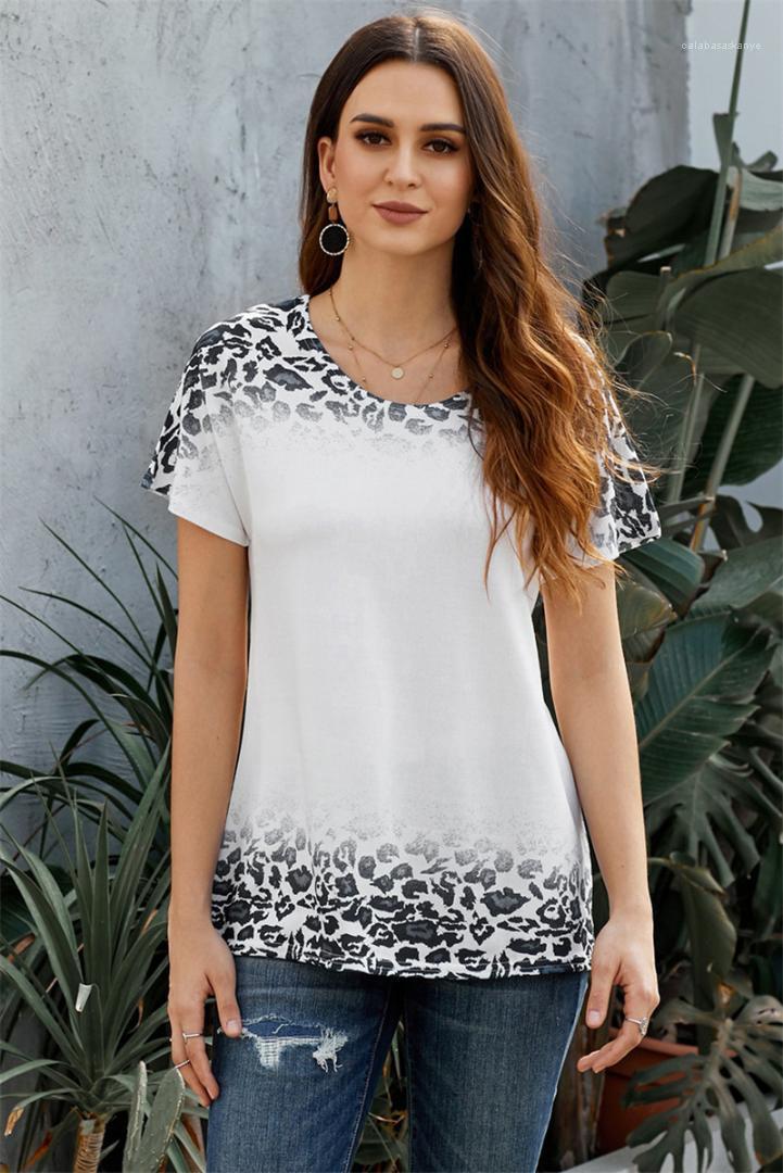 Пуловер Tshirts Женская одежда Летняя женская Leopard Tshirts сплошной цвет с коротким рукавом O Шея Лето Tees Casual Gradient Тонкий