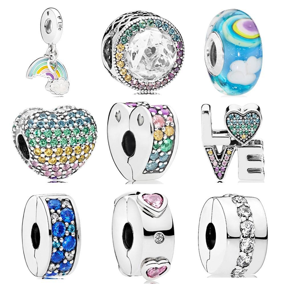 Heiße Verkaufs-Partei-Korn-Blumen Regenbogen-Herz-Kristall Charme-Korne passten Pandora Damen-Armband-Armbänder DIY Schmuck G