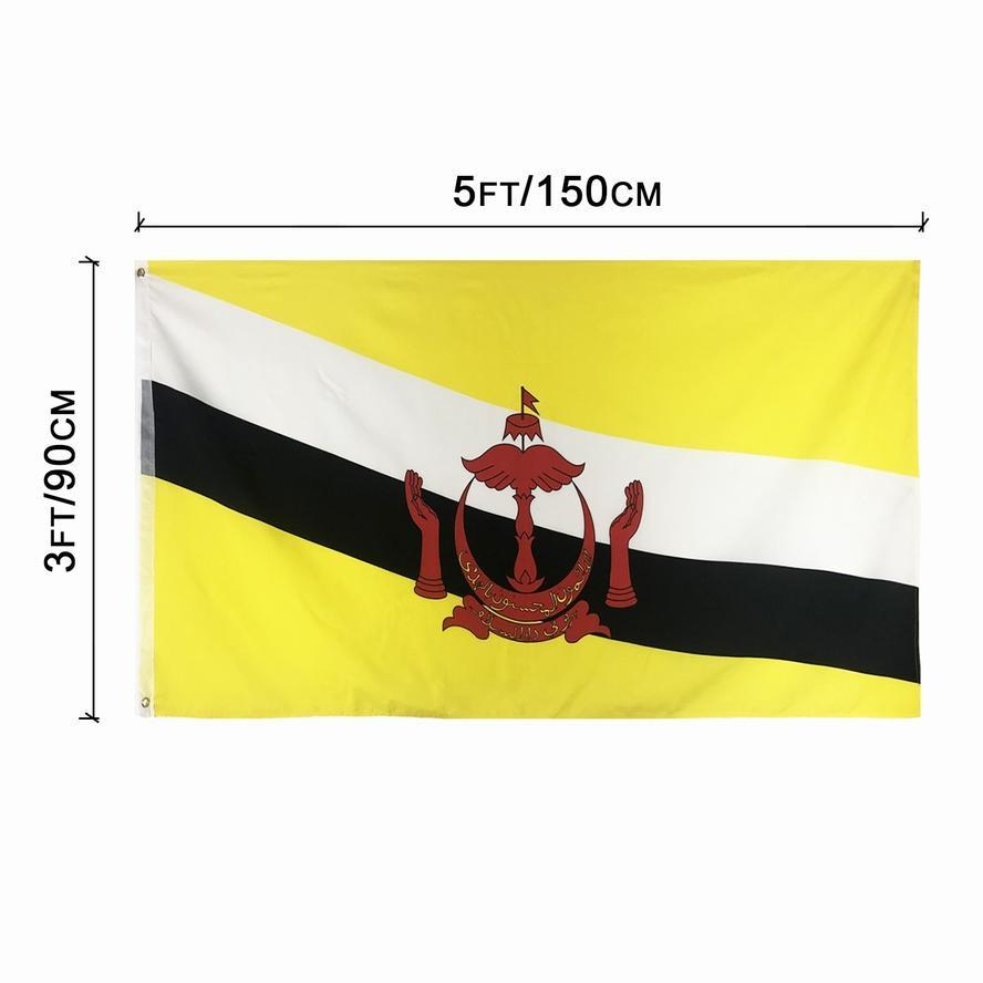 Brunei Flag 3x5FT 150x90cm Polyesterdruck Indoor Outdoor hängend Hot Selling-Staatsflagge mit Messingösen fre