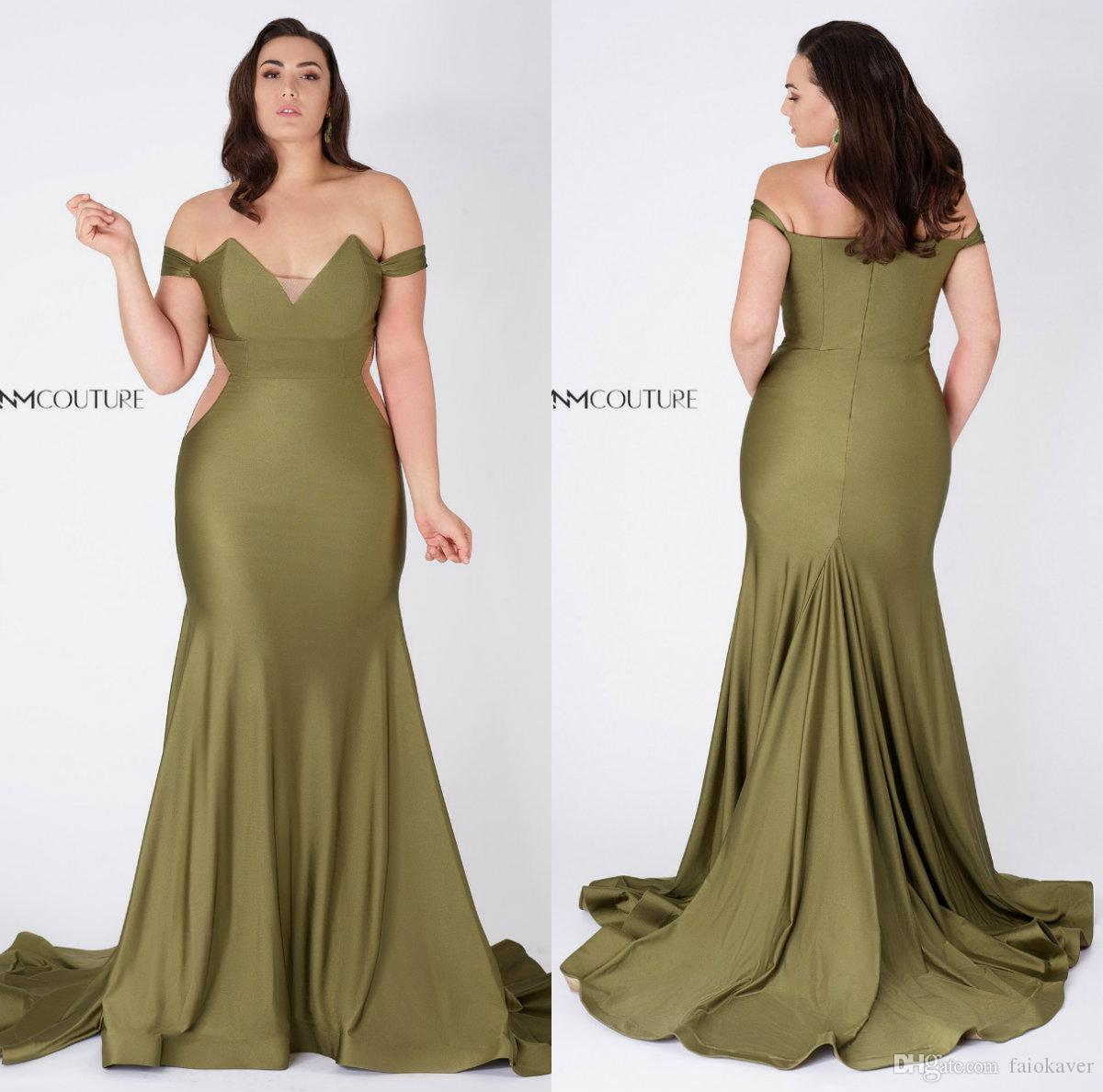 Olive Green Evening Dresses Off The Shoulder Satin Sweep Train Mermaid Prom  Dress Plus Size Women Wear Custom Made Formal Gowns Pink Evening Dress ...