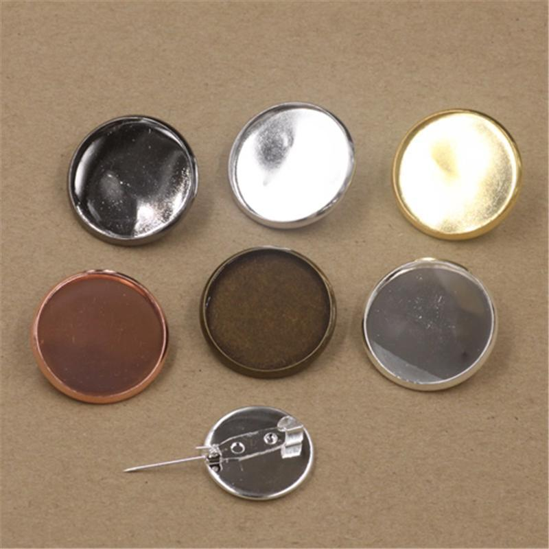브로치 빈 베젤 트레이 DIY의 보석 액세서리를 설정 BoYuTet 50PCS 6 개 색상 25MM 라운드 카보 숑 자료