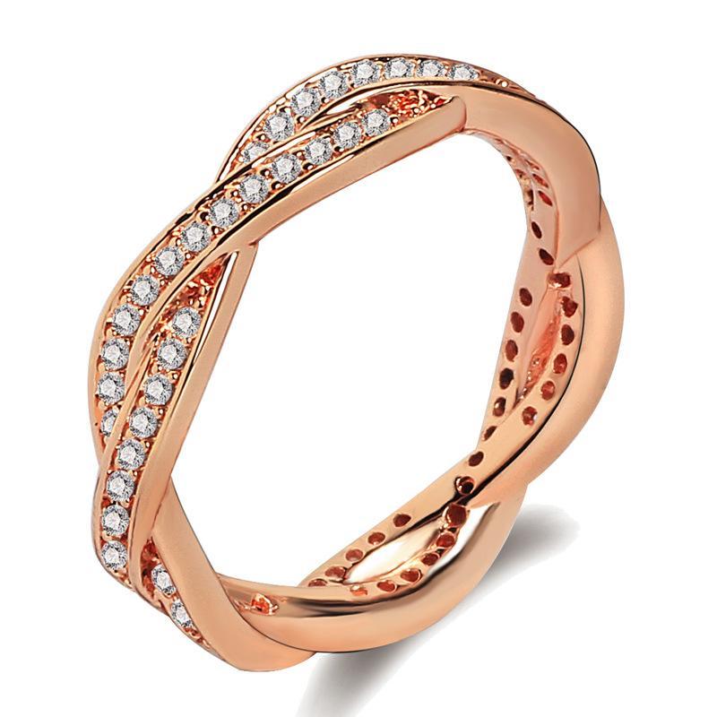 Hochwertige zweireihige Diamantring-Fingerringe mit einem Ring aus 18 Karat Roségold, der auf europäische und amerikanische Art und Weise verpackt ist