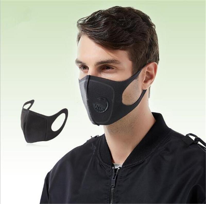 1 5 Adet PM2.5 Ağız Maskesi Sağlık Ağız Karşıtı Toz Siyah earloop Açık Binme Yumuşak Pamuk Filtre İnsan Yüz Sünger Maskesi