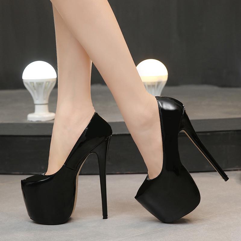 18CM النساء أحذية الربيع / الخريف جولة مثير الزفاف تو المرأة مضخات منصة عالية جدا كعب مضخات كاندي اللون الخناجر