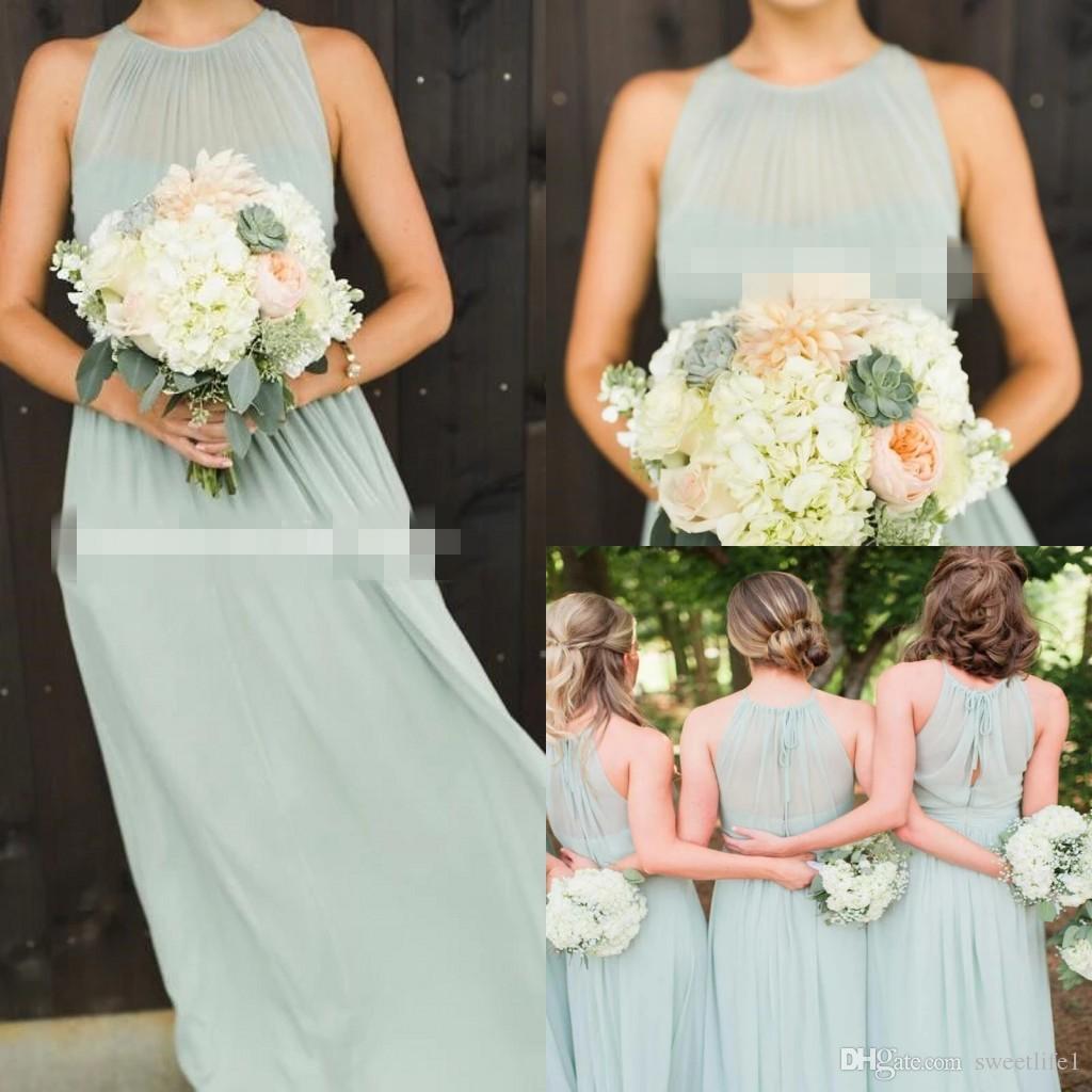 2020 Skromny Sage Szyfonowe Suknie Druhna Długość Linia Długość Piętra Maid of Honor Nosić suknię ślubną gości Boho Country Style Custom Made