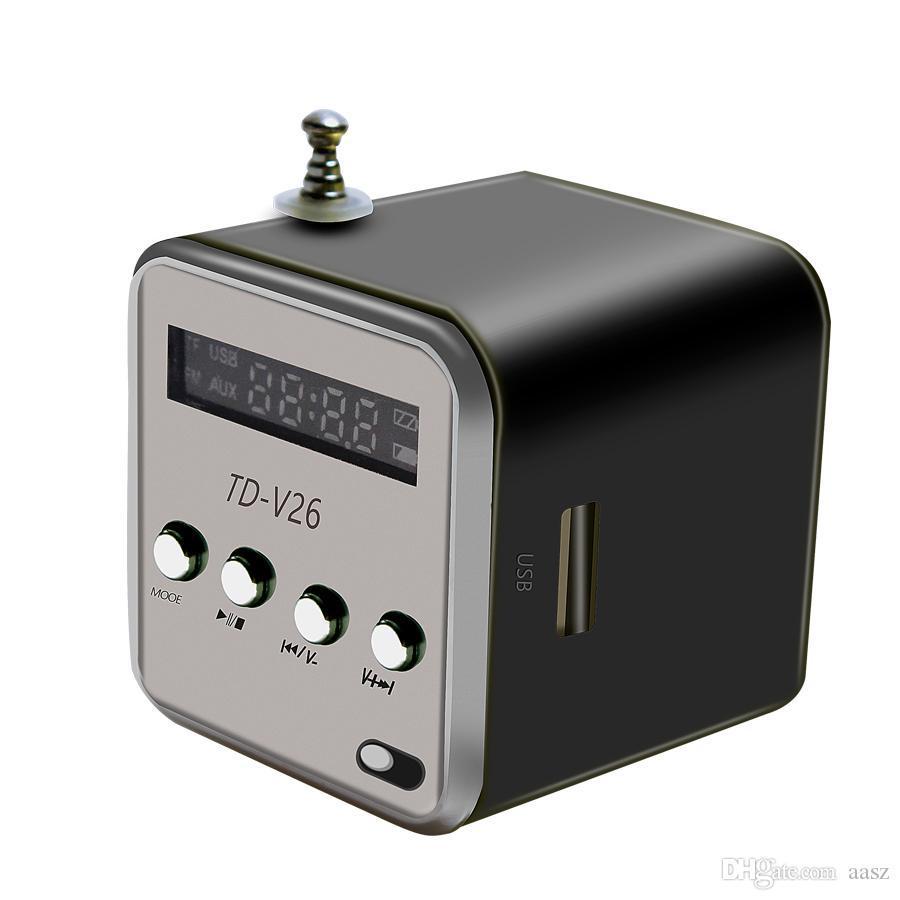 새로운 미니 휴대용 스피커 디지털 FM 라디오 마이크로 SD / TF 카드 MusicAmplifier 스테레오 스피커를 들어 Mp3 음악 플레이어 USB 충전