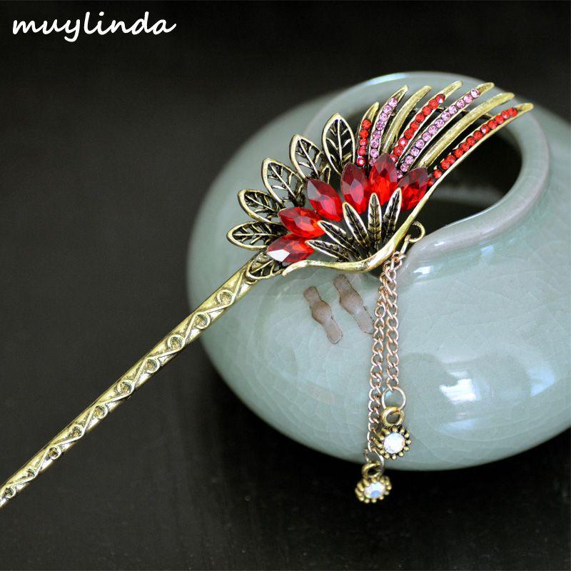 Sticks Crystal Hair Acessórios muylinda Feather Hair Stick Vintage Clipe Vinatge Mulheres Bronze Grampos Jóias
