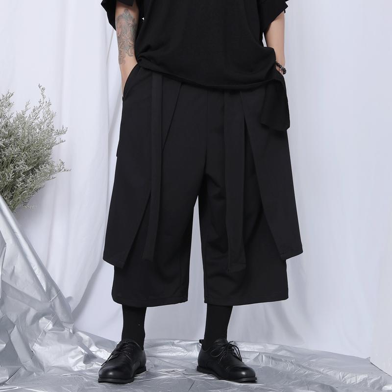 Japonês de oito pontos calças calças do largo-pé dos homens de personalidade dos homens maré ocasional irregular solta nove pontos
