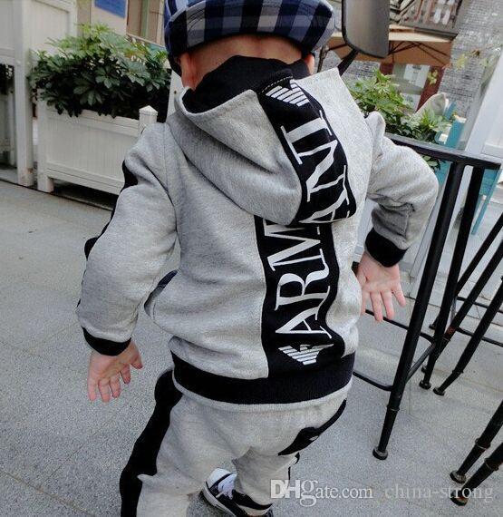 2019 어린이 정장 아이들의 후드 긴 소매 바지면 정장 남자와 여자 봄과 가을 2 개 세트, Size100-140cm