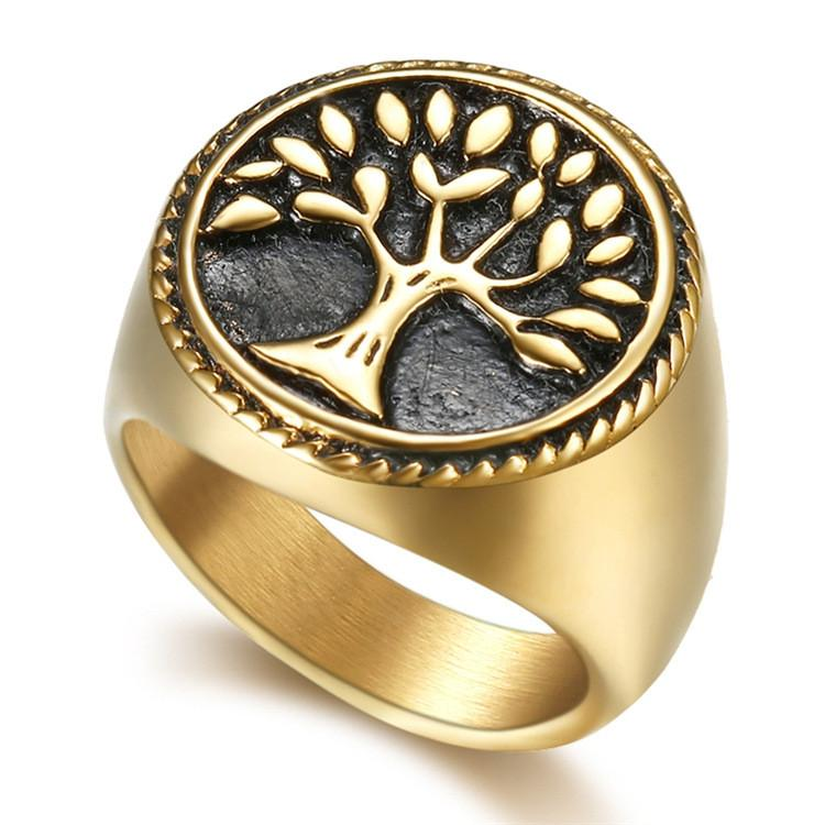 Fashion Stainless Steel Gold Retro Religious New Egypt Tree Of Life Egyptian Lady's Ring Jewelry Items