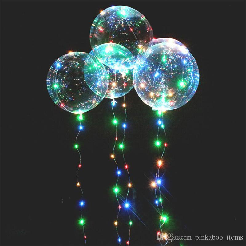 "LED Light Bobo Ball Balloon with Flashing Wave Night Lights 3M String 20"" LED Luminous Transparent Balloons Xmas Party Decora Kids Toys 2018"