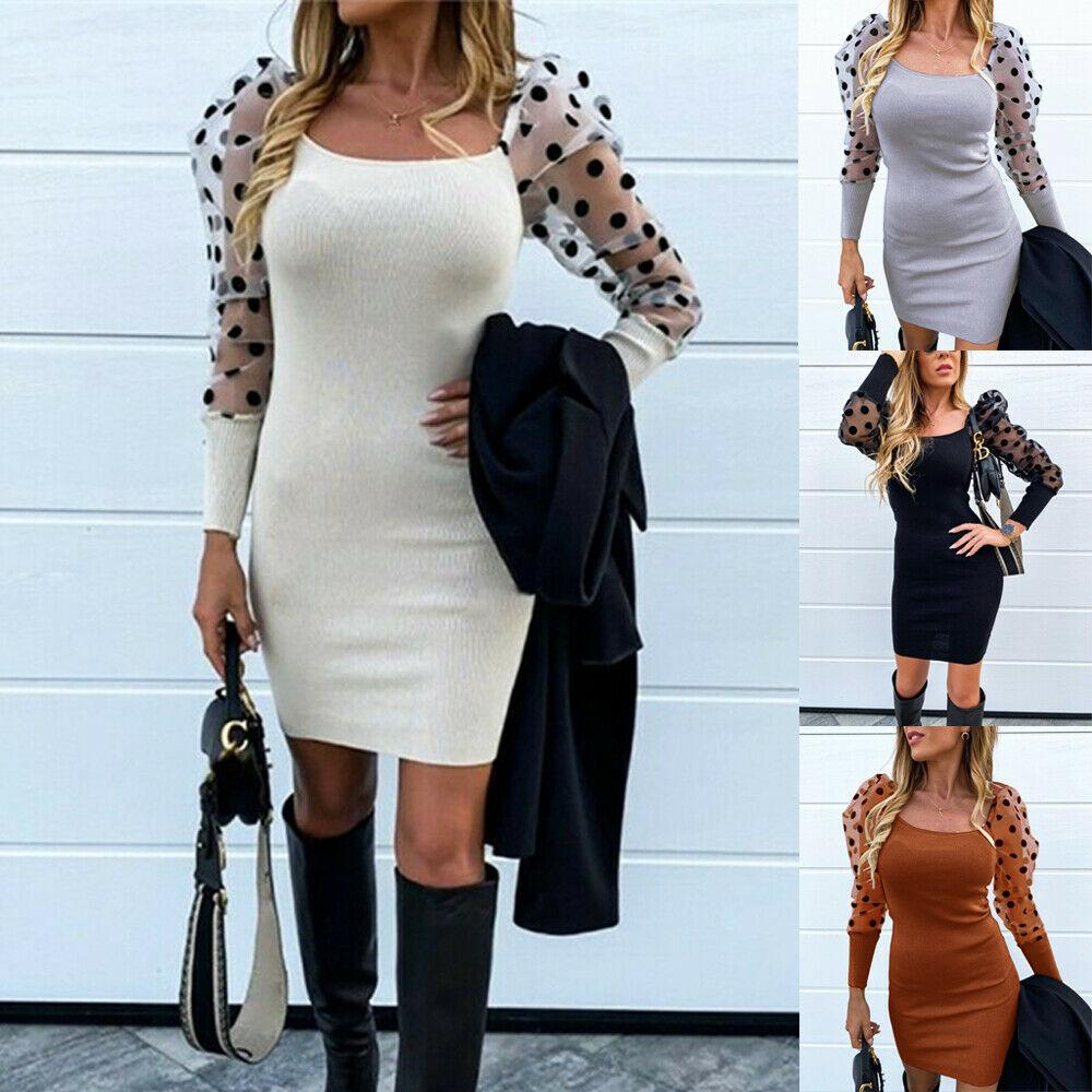 Womens Bodycon Mesh Puff Sleeve Dot Square Neck Knitted Ladies Party Mini Dress