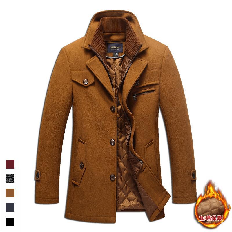 Winter Collar Detachable Thick Woolen Jacket Slim Fit Wool Blends Woolen Pea Coat Male Trench Coat Overcoat Men Plus Size 5XL