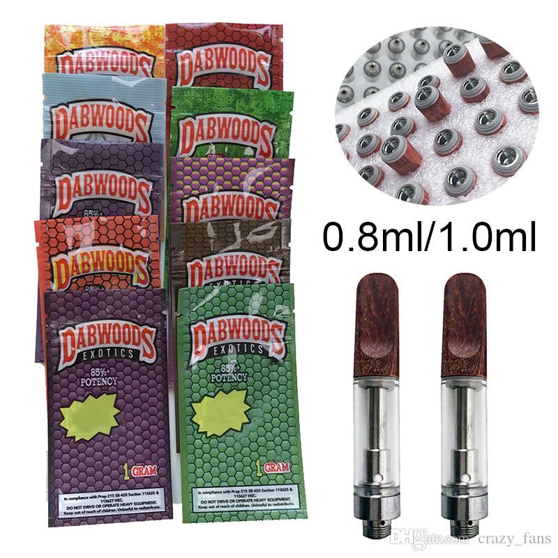 Wood Tip TH205 Exotic Dabwoods Vape Cartridges Packaging 0.8ml 1ml Empty Vape Pen Carts Thick Oil Wax Vaporizer 510 Thread E Cigarettes