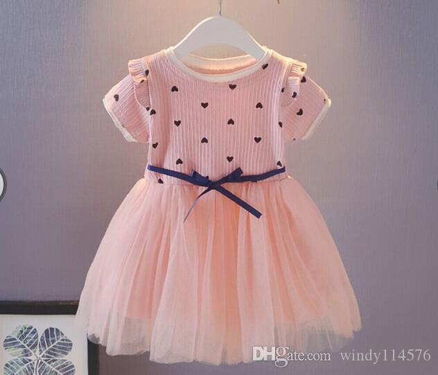 Compre Verano 2019 Marca Niños Vestidos Para Niñas Diseño Del Corazón De Manga Corta Vestido De Niña Vestidos Casuales Para Niña Niños Usan Xg146 A