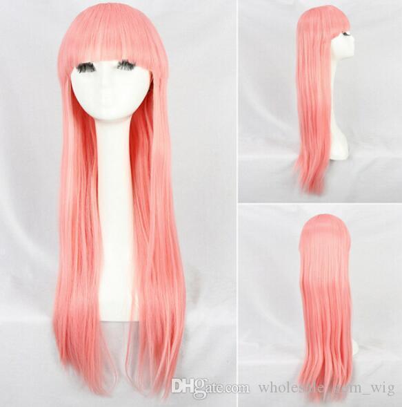 FREE SHIPPIN + + Graceful Girl Peluca de pelo largo y recto con gorra redonda Neat Bangs Cosplay Pink Nuevo