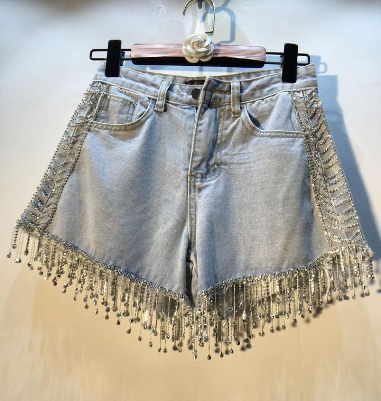 Light Blue Jean Shorts Woman 2020 Summer Wear European Style Industrial Tassels Beads Diamond Denim Shorts Lady's Hot Pants Jean