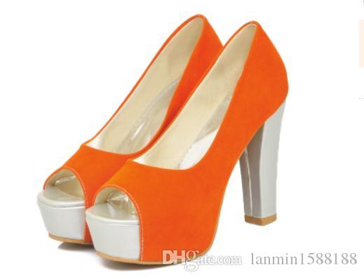 2019 Blue Patchwork Women's Sandals in Summer with New style High heel Coarse heel waterproof table Suede @02