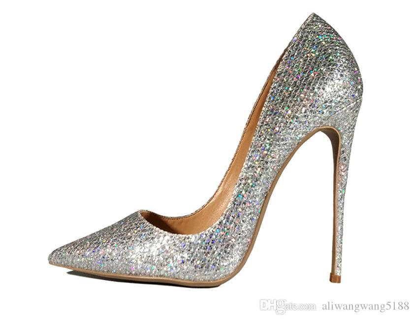 2019 free shipping fashion women Wedding lady silver Multi Glitter sexy Poined Toes high HEELED heels shoes Stiletto shoes pump 12cm 10cm