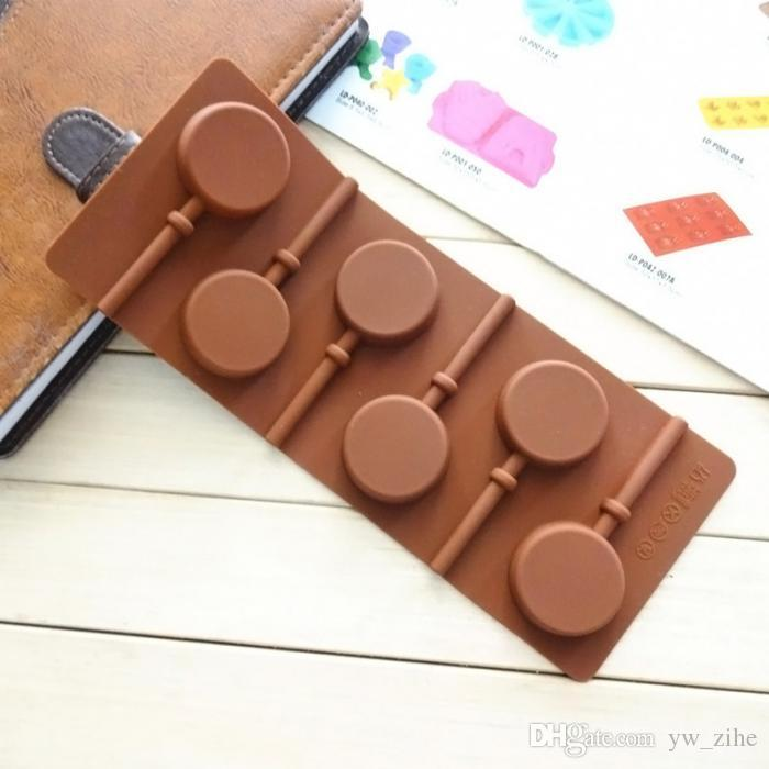 Silicone Round Lollipop Cake Chocolate Soap Pudding Jelly Candy Ice Cookie Biscuit Mold Mould Pan Bakeware wh0149