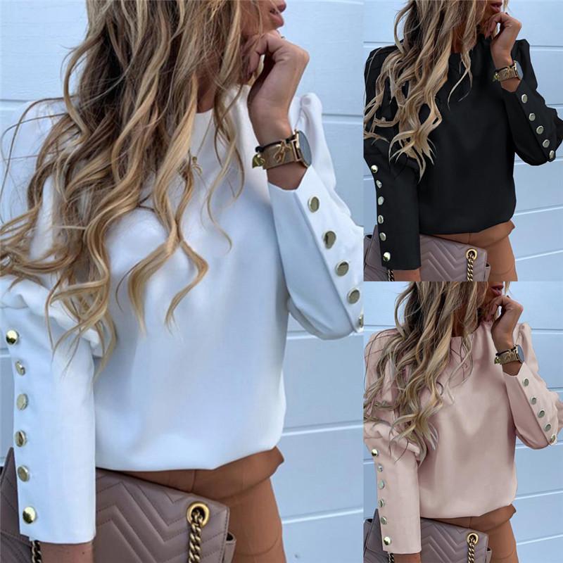 여성 긴 소매 슬림 프린트 버튼 셔츠 블라우스 탑스 퍼프 슬리브 정장 작업 공식 비즈니스 셔츠 블라우스 Outwear Tops 2019