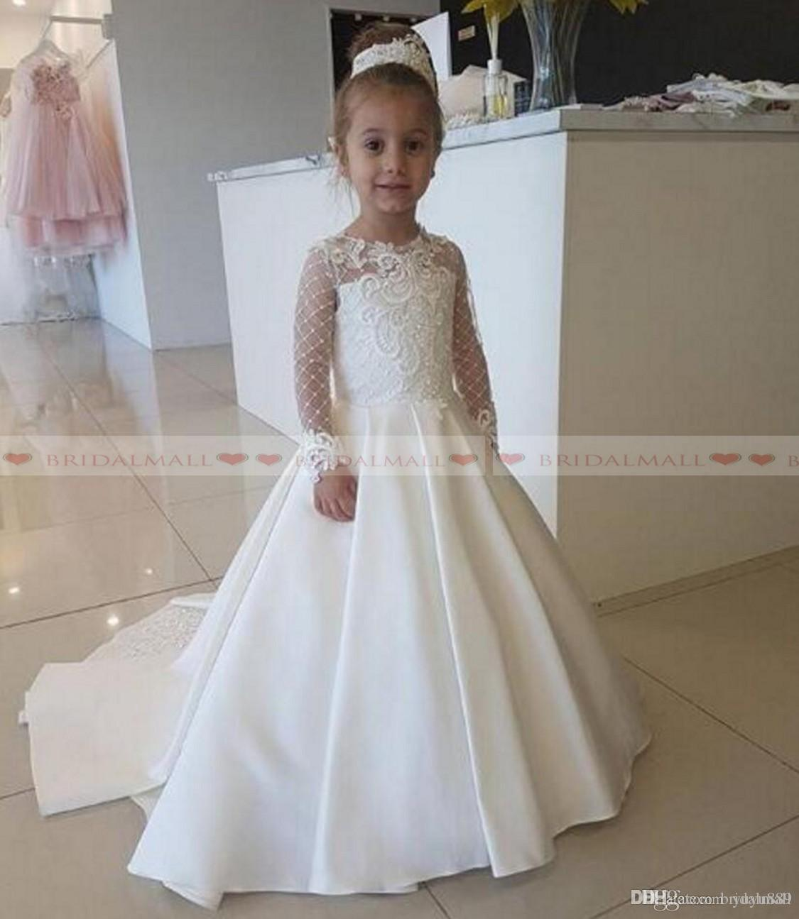 Satin Lace Applique Flower Girl Dress For Wedding Party Long Sleeves Little Kids Girls First Communion Gowns Christmas Pageant
