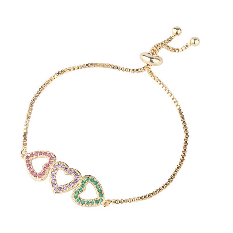 Multi Color Cubic forma Zirconia do amor do coração Cor do bracelete de ouro de cobre ajustável CZ Cuff Bangle Bracelet Mulheres Acessórios Para