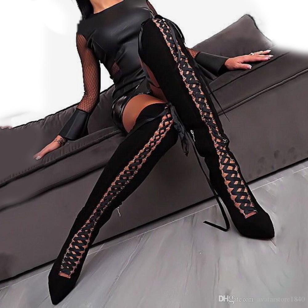 여성 가을 겨울 부츠 무릎 뒤꿈치 부츠 위로 여성 패션 통기성 크로스 크로스 레이스 업 블랙 컬러 지적 발가락 신발