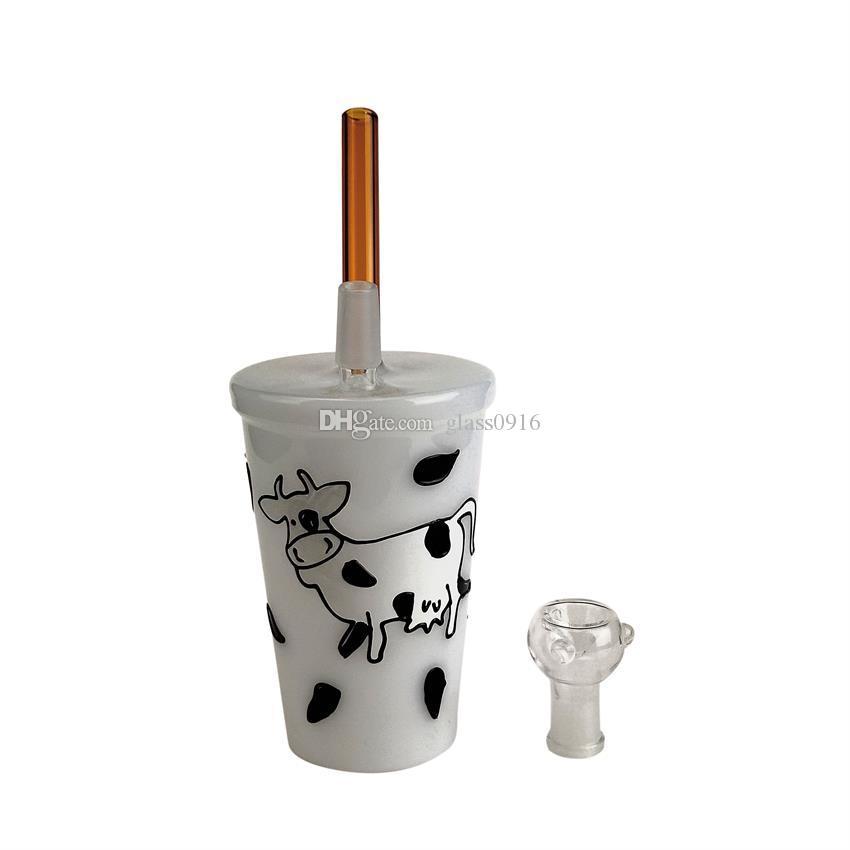 Cow picture glass bong oil rig glass water pipe percolator hight borolisicate glass beaker bong smoking pipe