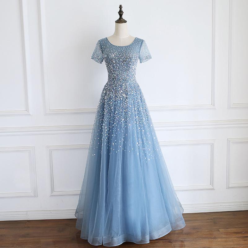 Milky Ways des étoiles Une ligne bleue abordable robes de soirée avec manches lourds cristaux perlage dîner robes lacées Retour Robes de soirée