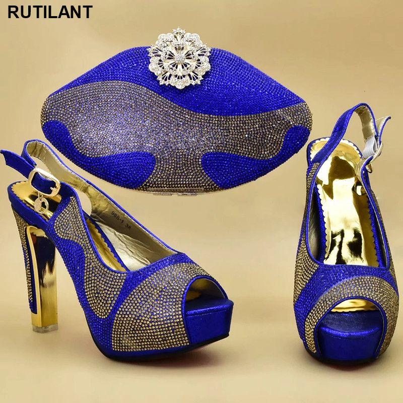 Zapatos italianos con los bolsos que emparejan para la boda de Italia de los altos talones de la boda Las mujeres decorado con diamantes de imitación zapatos y el bolso Conjunto Y200326