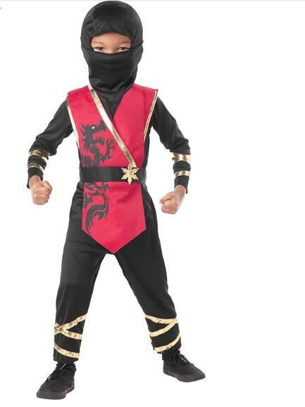 Preto com capuz Traje Ninja Kid Imprimir Suit assassino Cosplay Fantasia Meninos Masquerade Halloween Party guerreiros japoneses roupa