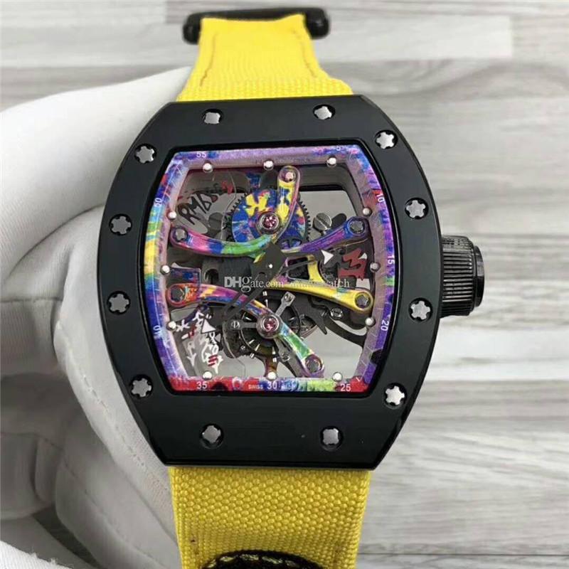 Турбийон Мужские наручные часы 68-01 Часы швейцарские Автоматическая 28800vph Часы Сапфир Искусство граффити Цвет openworked Циферблат титановый корпус ремешок из ткани