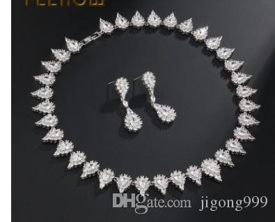 chaming low price high quality more color diamond crystal drops wedding bride lady's set necklace earigns 1yuj