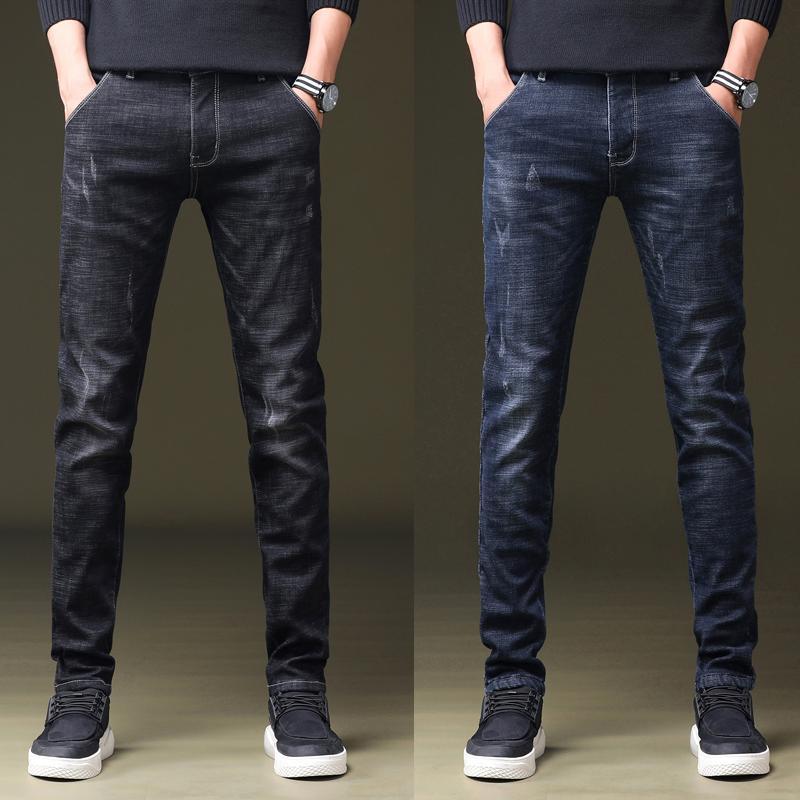 Marca Jeans Retro Azul Cinza Escuro Reta Denim Jeans Men Plus Size Casual Homens Calças Compridas Calças Marca motociclista