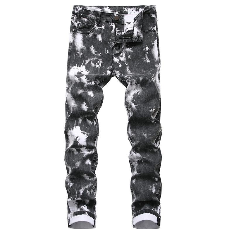 남성 R3174에 대한 ABOORUN 패션 남성의 다채로운 인쇄 된 힙합 청바지 슬림 스트레이트 스트리트 레드 데님 팬츠