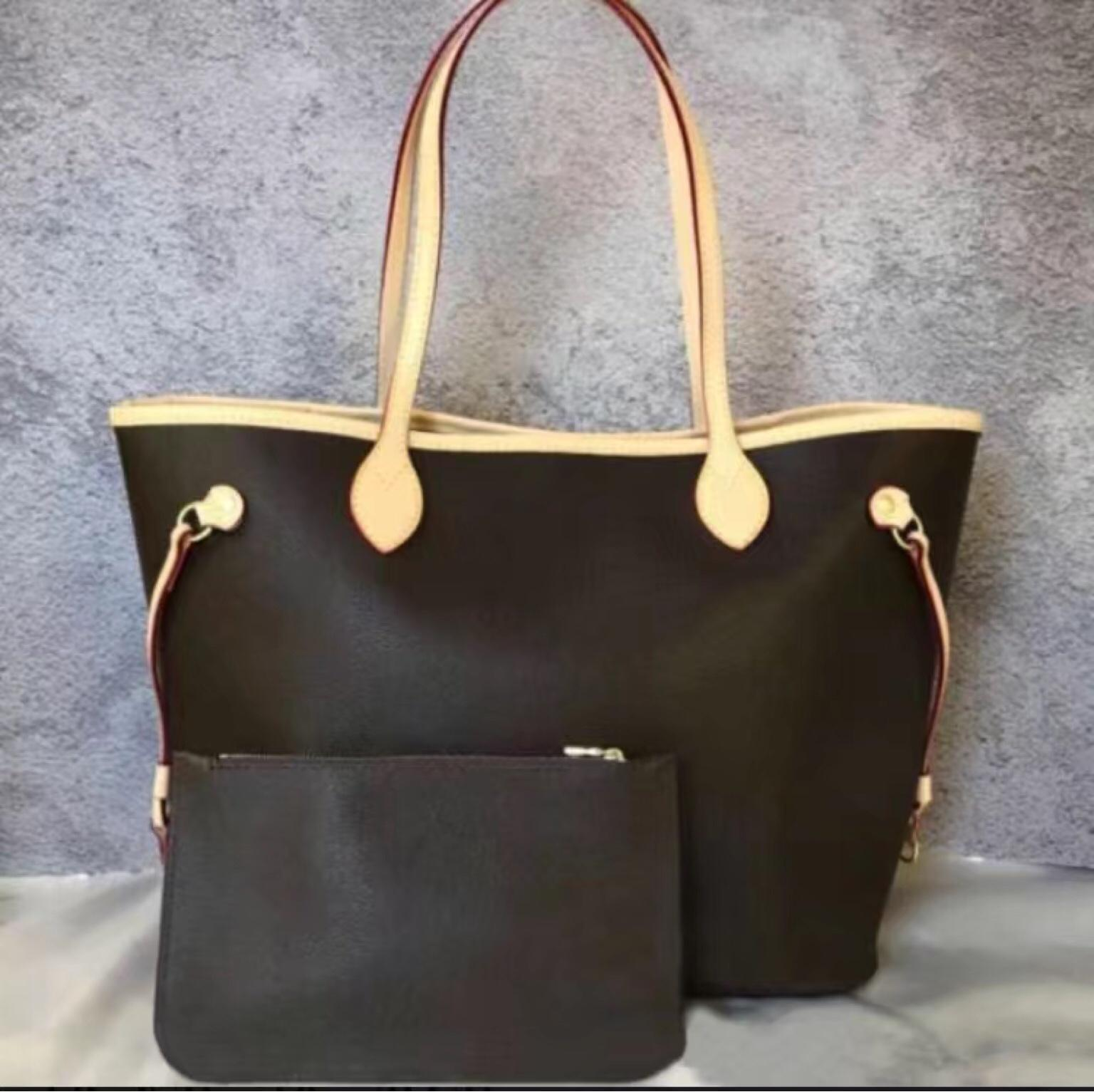 Luxury Designer Open Soft Shopping handBag Women Lady Oxidized Leather Shoulder Straps Never Hobo Bag Full Open Composite Purse Set