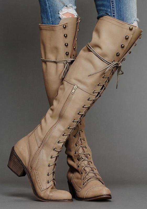 Осень и зима New Long Tube Женщины Boots Keep Warm высокие сапоги швейных ниток Rivet Высокий каблук Длинные молнии 635