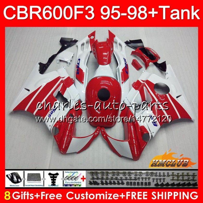 Kropp + Tank för Honda CBR 600F3 600CC CBR600 F3 95 96 97 98 Vit Red Hot 41HC.14 CBR 600 FS F3 CBR600FS CBR600F3 1995 1996 1997 1998 Fairing