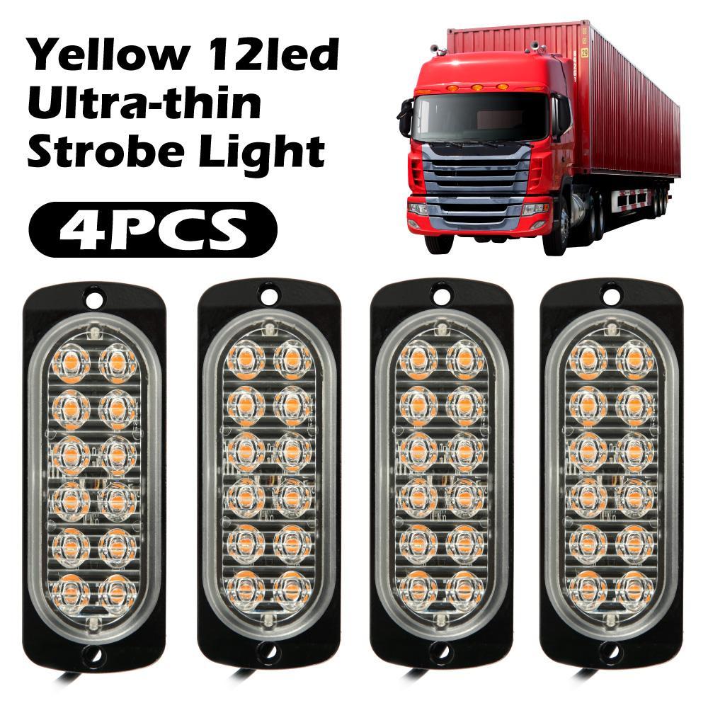 4pcs 12 LED del coche 12V luz de señal / 24V de grúa lámpara ámbar intermitente de emergencia Strobe Light SUV recuperación Beacon