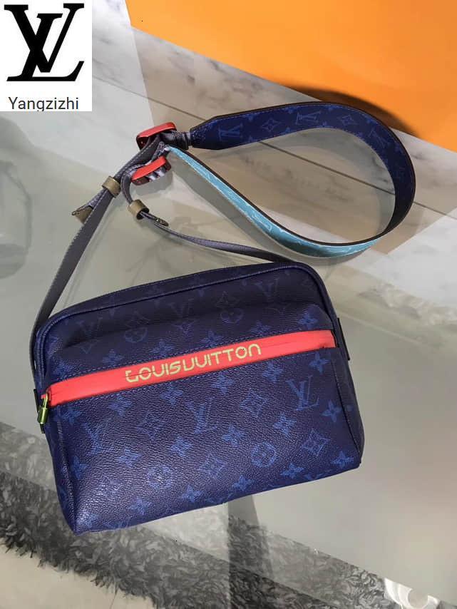 Yangzizhi Yeni İpli ve Renkli Metal Süsler Messenger Mavi Messenger Bag M43829 Çanta Çanta En Kolları Omuz Çantaları Totes