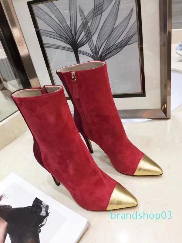 gamuza calidad del dedo del pie de puntas de cuero venta sin receta calientes mezclaron el negro mujeres del vino 10cm moda botas de tacón tobillo Zapatos